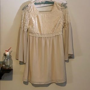 Cream velvet and chiffon dress with bell sleeve